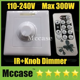 Wholesale Pwm Remote - Remote Dimmer 85V-265V 300W IR Knob PWM Triac LED Dimmer Switch For E14 E27 GU10 Dimmable Spotlights Downlights Ceiling lights Panel lights