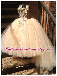 Wholesale Tiered Flowergirl Dress - 2016 gold flowergirl dress Formal pageant Gown Spaghetti Strap Hand Made Flower kids gold ball gowns Pleats Ruffles kid communion .