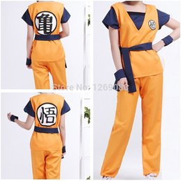 Wholesale Goku Costume Female - 2 Colors Anime Dragon Ball Z Son Goku Cosplay Outfit Clothing Kids Adult Full Set Costume Clothes and emboitement