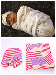 Wholesale Baby Shower Stars - Newborn infant baby American flag hat + Swaddle blankets wrapped shower cap cloth Muslin Cotton Bath Towel Multi Functions Aden Anais MZ9107