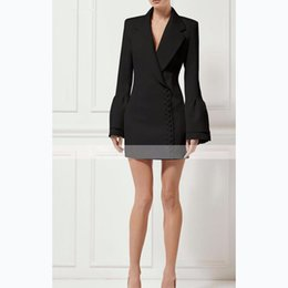 Wholesale Woman Wearing Business Suits - Women Fashion Suit Collar Sleeves Dress Suit Skirt Lady Business Dress