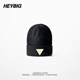 Wholesale Beanies Bboy - Wholesale-Heybig Brand Unisex Knitted Hats Autumn-Winter,Black Lovers' Knit Beanies Elastic,Street Hiphop Bboy Caps With Metal Triangle