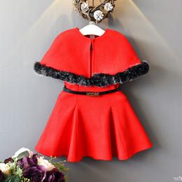 Wholesale Baby Vests Suits - Kids Girls Sets Baby Girls Fur Phocho + Vest Dress 2pcs Suits 2018 Autumn Winter Infant Princess Wool Outfits Children Clothes Boutique D12