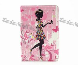 Wholesale Ipad Mini Girl - Stylish diamond girl&flower pattern PU leather stand protective cover for iPad mini4 50pcs lot dhl shipping