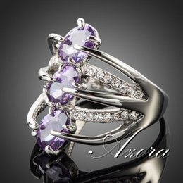 Wholesale Onyx Watches - Fashion Jewelry Rings AZORA Platinum Plated 3pcs Purple Stellux Austrian Crystal Ring TR0089 ring friends ring watch