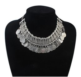 Wholesale Tibetan Coin Jewelry - Vintage Tibetan Silver Jewelry Multi-layer Alloy Decorative pattern Coin Pendants Fashion Colar Choker Necklaces For Women