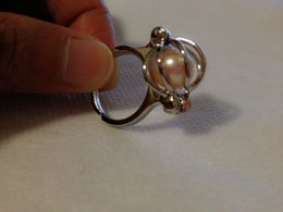 Wholesale Cage Rings - 18KGP Pearl Gem Beads Cage Ring, Adjustable Size Ring Jewelry
