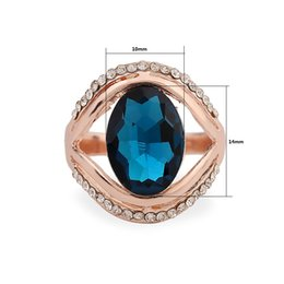 Wholesale Wholesale Jewelry Austrian Stones - Romantic Austrian Crystal Jewelry Rose Gold Plated Rings Red  Blue Rhinestone Rings For Women 24pcs Lot