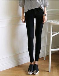 Wholesale Tight Designer Leggings - Wholesale-2015 New Autumn Fashion High Waisted Jeans Pants For Women Brand Designer Ladies Tight White Black Pencil Pants Leggings