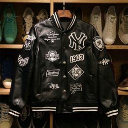 Wholesale Men S Pu Coats - MLB Men jackets Brand Caual Mens new yorks pu coat Fashion Hip Hopembroidery baseball jacket Sweatshirts