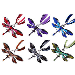 Wholesale Vintage Party Plates - 2017 hot sell 6Colors Vintage Enamel Dragonfly Crystal Pendant Necklaces Organza String Necklace Necklaces fashion Jewelry