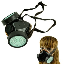 Wholesale Gas Masks Cheap - Double Gas Mask protect filter Chemical Gas Respirator Face Mask Cheap Free Shipping 50