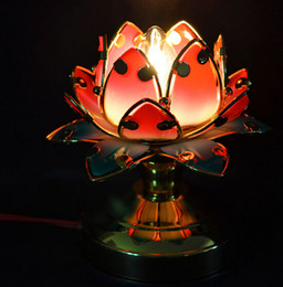 Wholesale Led Lotus Crystal Lamp - Colorful lotus petal lotus lamp Buddhist temple in front for a long light lamp
