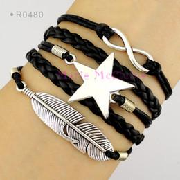 Wholesale Pentagram Design - Infinity Wish Star Pentagram Feather Charm Wrap Bracelets Leather Wax Unisex Bracelets kid child girls Women Fashion Gift Custom Design