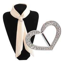 Wholesale Heart Shaped Ring Rhinestone Crystal - Mix color Rhinestone Heart Scarf ring Metal Alloy Scarf Buckle Heart Shape Pashimina Clip Scarf Jewelry