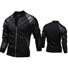 Wholesale Leather Jacket For Short Men - New fashion Jacket,Personalized Baseball Stitching Clothes Leather slim fit Jacket,2 color Outerwear & Coats For Men