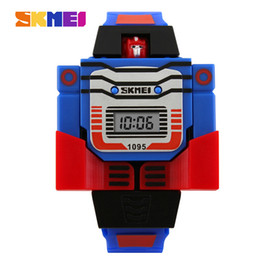 Wholesale Display Relojes - SKMEI Kids LED Fashion Digital Children Watch Cartoon Sports Watches Robot Transformation Toys Boys Wristwatches Relogio Relojes
