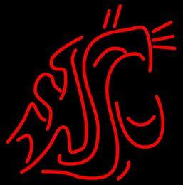 "Wholesale Sports Neon Lights - National College Basketball Washington State Cougar Neon Sign Lighting Snake Logo Team Sign Sport Dsiplay Adertising Sign 16""X14"""