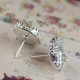 Wholesale Earrings Blank Stud - (60 pieces lot) 15mm Copper plated crown bezel set earrings blanks silver stud earrings tray earrings base blank setting cy369