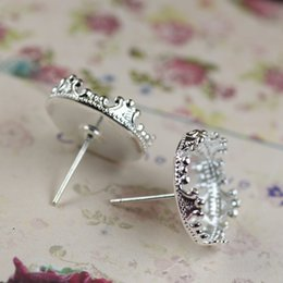 Wholesale Tray Earring Blanks - (60 pieces lot) 15mm Copper plated crown bezel set earrings blanks silver stud earrings tray earrings base blank setting cy369