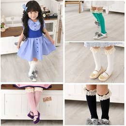 Wholesale Girl Knee Socks White - girls knee high socks girl cotton lace kids knee boot high socks with lace foot socks leg warmers white top stockings in stock