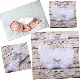 Wholesale Maternity Headbands - 5set White Feathered Angel Wings Couture Embroidery Sequins Bow Applique lace Headband Newborn Maternity Photography Prop hairband YM6109