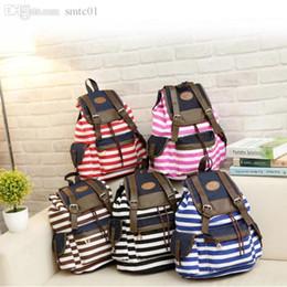 Wholesale Canvas Backpack Adult - Wholesale-Sasual Women's Adult Teens Striped Pattern Canvas Backpack Rucksack School Bag