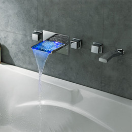 Wholesale Waterfall Tubs - 2015 Wholesale New Arrival Wall Mounted 5PCS LED Waterfall Bathtub Faucet Tub Filler Bath Tap
