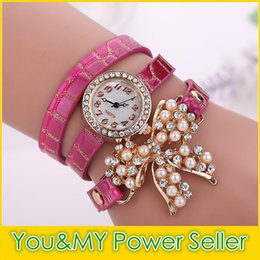 Wholesale Purple Leather Infinity Bracelet - Infinity Watch Fashion Bracelet Watches bow knot Wristwatches Luxury Diamond Rhinestone Women Quartz Watches Pearl Round Case Drop Free DHL