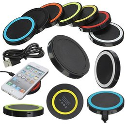 Wholesale Apple Shapes - Factory Price Universal Qi Wireless Power Charging Charger Pad kit round shape and light For iPhone and for Samsung with Retail Box