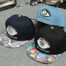 Wholesale Snapback Eye Big - Wholesale-2015 Fashion Big Eye Graffiti Snapback Cap Men Bone Snap Back Hip Hop Cap Sport gorras Snapback Hat Baseball Cap