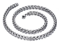 Wholesale heavy silver chains for men - Top Selling Compelling Silver 6mm 23.6'' High Quality 316L stainless steel Braid Curb Chain Necklace for Men Heavy Jewelry Gifts