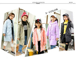 Wholesale Girl Long Pink Fur Coat - Children's duck down jacket for Girl clothes Outerwear fur long model warm baby jackets girls Winter coat Cold parka
