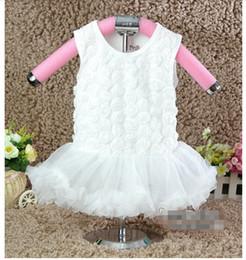 Wholesale Girls Rosette Tutu Dress - 10%OFF 2015 NEW ARRIVAL! baby girl White Rosette Princess tutu dress,white cute dress children clothing,3pcs dress+3pcs hairband,6pcs lot