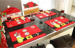Wholesale Modern Table Runners - Wholesale- 4pcs Christmas Santa Suit Placemat Table Runner Mats Cutlery Holder Xmas Dinner Decor