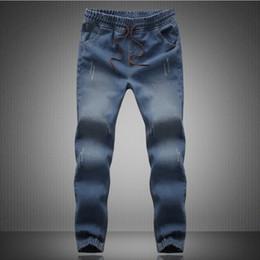 Wholesale mens new stylish jeans - Wholesale-New 2015 mens Stylish Ripped Jogger Jeans Skinny Biker Jeans Perfumes 100 original Plus size M~ 5XL Elastic Jeans