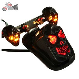 Wholesale Honda Fit Chrome - Motorcycle ABS Skull Taillight Assembly Chrome Fits Harleys Tail light fat boy dyna Taillamp brake lights clignotant moto 69