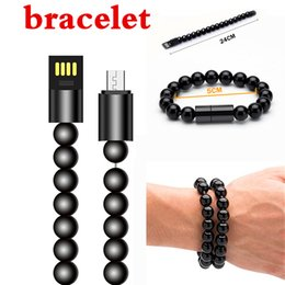 Wholesale Ring Data - hand ring data lines Bead Bracelet Charging Synchronous Data Line Bracelet Charger for Samsung S8 Note8 Micro Type c USB2.0 Android Phone..
