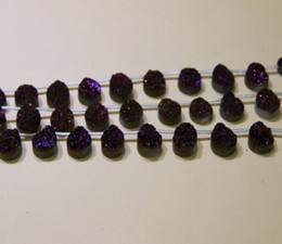 Wholesale Purple Agate Pendant Bead - 13X18mm 15.5Long Titanium Purple Druzy Agate Beads Natural Teardrop Gemstone AA Drusy Crystal Quartz Necklace Pendant Jewelry Make Connector