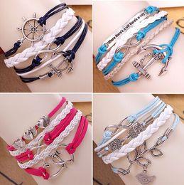 Wholesale Harry Potter Leather Bracelets - 2015 Mix 16 style Multilayer Braided Bracelets Vintage Owl Harry Potter wings infinity bracelet Multicolor woven leather bracelet & Bangle