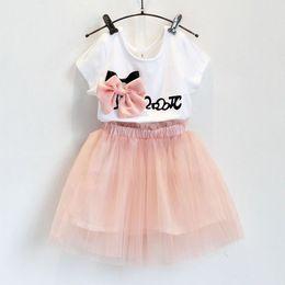 Wholesale Child Skirt Cute - Girls Sets 2015 Summer girl Sweet bow short sleeve T shirt + veil tutu skirt suit children suits kids clothing