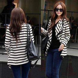Wholesale Korean Black Long Blouse - Fashion Korean Women Long Sleeve Striped Tops Slim Cardigan Blouse Jacket Coat Free shipping Drop shipping