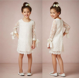 Wholesale Casual Sheath Wedding Dresses - New White Crew Flower Girls' Dresses Long Sleeves Illusion Knee length Sheath Column Casual Little Girls Pretty Skirt First Communion 2016