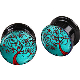 Wholesale Double Flared Acrylic Tunnels - Blue Tree of Life Flesh Tunnel Logo Double Flare Acrylic Ear plugs tunnels body piercing jewelry Earring taper tragus