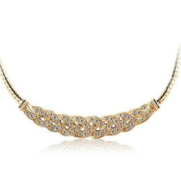 Wholesale Gold Chain Short Choker Necklace - Waltz Crystal Necklace Short paragraph clavicle chain Pendant Necklace Valentine's day national wind jewelry For Women 1018