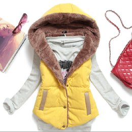 Wholesale White Waistcoat Women - New Fashion Women Hoodies Vest Jacket Coat Plus Size Outdoor waistcoat Winter Cotton Fur Vest Warm Coat Outwear sleeveless Hooded Vests W65