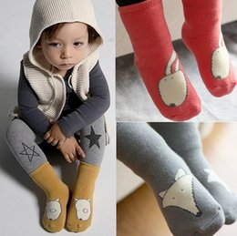 Wholesale Hot Winter Thick Socks - Hot kids Cartoon Socks Baby Boys Girls Cotton Socks Infant Non-slip Socks Winter Warm Thick Leg Warmers Animal Mid-long Boots Cuffs Sock