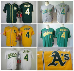 Wholesale Athletic Greens - Oakland Athletics Jersey 4 Coco Crisp Jersey White Yellow Green Shirt Stitched Authentic Baseball Jersey Embroidery Logos