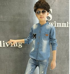 Wholesale Shirts For Boys Jacket - Wholesale-New autumn spring children's clothing shirts for boys jean jacket denim shirts casual children's dress kids's clothing