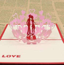 Wholesale Handmade Lover Greetings - Wholesale- 10 sets lot Decoupage Handmade & Creative Kirigami & Origami 3D Pop UP Gift & Greeting Cards With Lover 3d wedding invitation